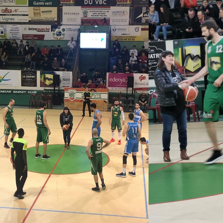 Coup d'envoi fictif d'EMMAVIE au Match de Basket VBC/HORSARRIEU!! Sport#Solidarité#Partage#PréventionRoutière !! 🏀⛹️♂️